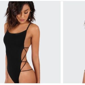 NWOT black strappy bodysuit